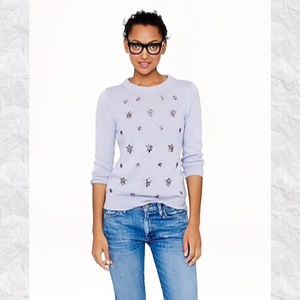 J. Crew Jeweled-Cluster Sweater in Lavender